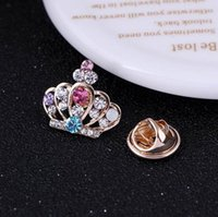 african dance - Broche Mujer Vintage Pin Crystal Crown Brooch Gold Plated Brooches Pins Exquisite Collar For Women Dance Party Accessories DHH065