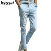 ankle pants trend - New Trend Men s Pants Summer amp Spring England Ankle Length Casual Simple Light Blue Pants For Man Drop Shipping MKX497
