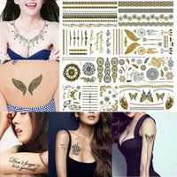 Wholesale 24 Piece LotTemporary Metallic Tattoo Gold Silver Black Body Hand Tattoos Sticker