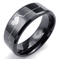 band like - 072351 jewelery mix rings Stainless steel jewelry Mens Womens like you Heartbeat ECG Ring US Size