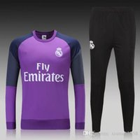Wholesale Thai quality Football tracksuit purple Real Madrid soccer training suit long sleeve sweatshirts Men shirts