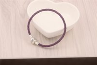 ale styles - Romatic Purple Charm Bracelets Fits For Pandora Style Sterling Silver Clip Clasp s925 ALE Beads Genuine Leather Bracelet DIY Jewelry