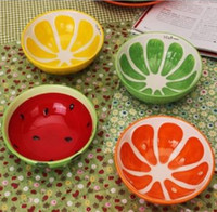 Wholesale Handmade Ceramic Bowl Hand Painted Fruit Watermelon Rice Bowl Soup Ceramic Bowl lovely and colorful