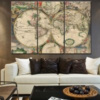 bedroom paint colours - 3 Set World Map painting Coloured Modern Wall Oil Art Bedroom Home Living Room Decoration Children s gift