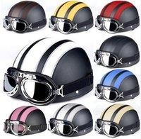 Marrón de cuero sintético de la vendimia en motos Cascos Vespa abierta de la cara mitad de motor del envío libre 9 colores