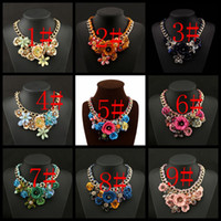 bib necklace designs - 2016 New Design Flower Pendant Necklace Choker Jewelry Big Chunky Chain Blue Flower Vintage Bib Collar Statement Necklace For Women