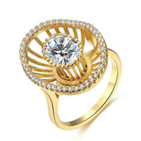 Wholesale New personality women rings big flower Creative hollow shaped diamond gold colors