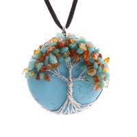 lots of turquoise jewelry - 6pcs Tree of Life necklace blue turquoise necklace wire trees crystal pendant necklace fashion jewelry necklace gifts for men women
