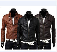 Wholesale PU Leather Men Jacket Fashion Stand Collar Slim Short Jacket Casual Tiered Button Long Sleeve Zipper Machine Wagon Jacket