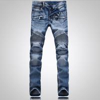 cargo pants for men - Luxury balmai biker jeans for men New Fashion Man Cargo pants hip hop Casual true jeans vaqueros hombre famous brand designer mens jeans