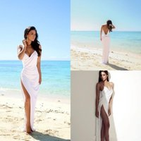 Wholesale 2016 Simple Sexy Beach Wedding Dresses Open Back Side Split Spaghetti Summer Trouwjurk White Chiffon Custom Made Sheath Bridal Gowns BM