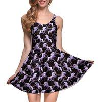attack girls - NEW Arrival Sexy Girl Women Summer Robot Unicorn Attack D Prints Reversible Sleeveless Skater Pleated Dress Plus size