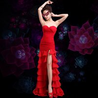 ballroom dancing club - Sexy Strapless Women Evening Dresses Ballroom Cha cha Rumba dresses split dance wear Long Party Club Fancy dress costumes NSHA113
