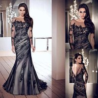 Wholesale Mermaid Evening Dresses Crew Sheer Neck Black Lace Appliques Plus Size Formal Prom Party Gowns