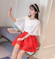 big red skirt - Wonen Clothing New T Shirt Tops Skirt Set Big Girl Summer Casual Skirt Set Women Pinting Fashion Apparel Set VCDD3