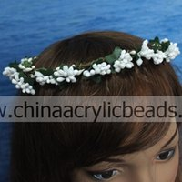 berry prices - pink wedding hair tiny berry beaded with green leaf girl s wedding occasion hairpiece crown headband with factory price