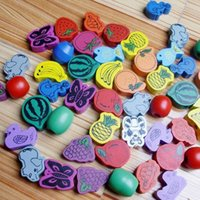 bead string interactive - Wooden Toys Stringing Game Child Toy Heart Shaped Beads Mixed Animals Fruit A00043 BRE