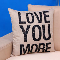 Wholesale 45 cm High Quality Cute LOVE YOU MORE letters print Throw Pillow Case Cushion Cover Christmas Decor Gift New