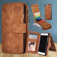 apples leather pouch - For iphone6 plus S7 Multi functional in1 Magnet Detachable Removable Vintage Cover PU Leather Wallet Case For iphone Galaxy S6 edge