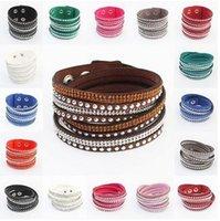 venda por atacado gift wrapping-2016 Nova Moda Multilayer Wrap Bracelet Slake pulseira de couro Deluxe Charme com Sparkling Cristal Mulheres Fine Jóias dom amor