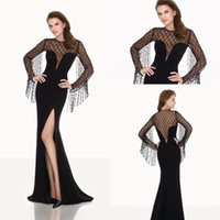 beaded fringe dress - Black Fringe Long Sleeve Mermaid Sheer Neck Arabic Dubai Abaya Prom Party Dresses Tarik Ediz Fishtail Split Evening Dress