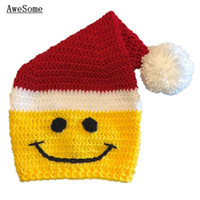 baby face photos - Novelty Santa Smiley Face Hat Handmade Knit Crochet Baby Boy Girl Christmas Elf Pompom Beanie Baby Winter Hat Toddler Photo Prop
