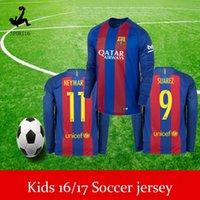 Wholesale kids long sleeve soccer jerseys Kids Best Quality Customized Home Away Jersey Camiseta de Neymar JR Messi Suarez A Inie