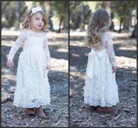 Wholesale Wonderful White Lace Baptism Dresses Long Sleeve Ankle length Beautiful Sash Iullsion Spring Flower Girl Dresses Wedding Sweet Kids Wear