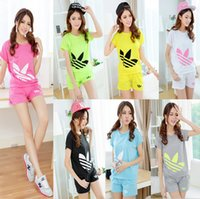 Wholesale Sport suit female students in the summer of the new summer leisure short sleeved clothes shorts running two piece outfit