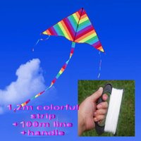Wholesale 2016 newest Children s and adult kite cloth rainbow triangle kite with line wheel spring summer beach picnic colorful gift and toy