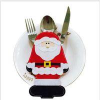 Санта костюмы Цены-2 шт Счастливый Санта-Клаус посуда Столовое серебро костюм Рождественский ужин партии Декор Новогодние украшения 11,5 * 17,5 см