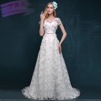 Wholesale 2016 Spring Summer New European luxury handmade lace flower slim word shoulder small tail bride wedding dress