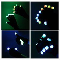 Wholesale HOT Fashion Mode LED Rave Light Finger Lighting Flashing Glow Gloves for birthday party xmas