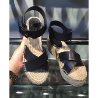 Wholesale The Rome summer and bottom slope with microfiber synthetic leather rope woven straw sandals with black tide female fish mouth Muffin