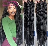 Wholesale Senegalese Braiding quot packs for a full head black color single twist cheap synthetic hair crochet twist braids for black women