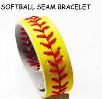 baseball pitches - Softball Bracelets Leather Seamed Lace Stitching Wristlet handmade Sports Baseball Fast Pitch Gum For Bracelets bangles