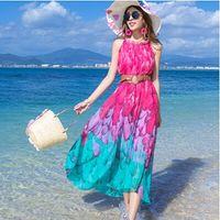 Wholesale 2016 Women s loose chiffon Bohemian Dresses Hawaii Holiday Style Sun Flower Floral Printed Summer Women Beach Dress All Matach