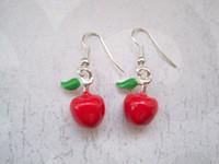 apple green jade earrings - Earrings Dangle Earrings pair D RED APPLE GREEN LEAF ENAMEL SP Earrings Rockabilly Cute Teacher Gift Bag MM LK678