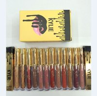 Wholesale Hot sell KYLIE lipstick Cup non stick lipstick gold KylieLip Birthday Edition Metal Matte Lipstick Kylie Jenner color fl oz oz