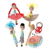 arts productions - Children DIY wooden spoon kit doll toys Kids child kindergarten art craft handmade educational toys color paper production