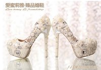 beige slingback pumps - Pearl diamond wedding shoes waterproof Taiwan white bride shoes super high heels shallow mouth red shoes Party Prom Women Shoes X6
