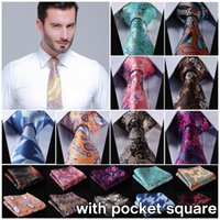2016 Hot Sale Floral mariage Mode Cravates Set d'affaires Paisley Ties pour occasions formelles Sets britannique Pocket Place Cravate