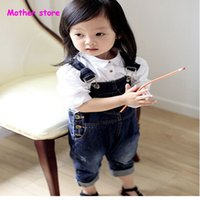 Wholesale 2 Y kids boy and girl cotton jeans suspender trousers cowboy children overalls jeans pants outfit in spring