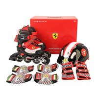 adjustable inline skate - Ferrari Adult Kids Inline Skate Shoes with Protector Set Helmet Roller Blades Skating Braking Red Black Free Adjustable Size S M L FK11