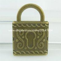 antique lock sets - 16344 Alloy Antique Bronze Vintage Toem Lock Pendant x25mm Setting Tray