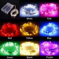 achat en gros de noël lumières de couleur-2M / 3M / 4M / 5M Party Xmas led Batterie Alimenté 20 30 40 LEDs cuivre fil d'argent (avec couleur argent) String Light Lamp