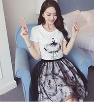 apparel skirts - Summer New Women Clothing T shirt Tops Lace Skirt Set Big Girl Short Sleeve Apparel Set Women Casual Pinting Skirt Set CC79D