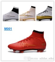 Wholesale New Mercurial Superfly FG CR7 Mens Soccer Shoes Red Gold Silver Mercurial Superfly Soccer Boots Original Outdoor Sport Football Shoes