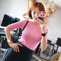 Wholesale spring and summer sleeve sweater female hedging and half high round neck sleeve head bottoming Slim thin sweater