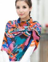 Wholesale Satin Fashion Chiffon Scarf Female Women GorgeousColor Beach Sarong Shawl Wind Winter Scarves Soft Bufanda Jersey Hijab WJ10